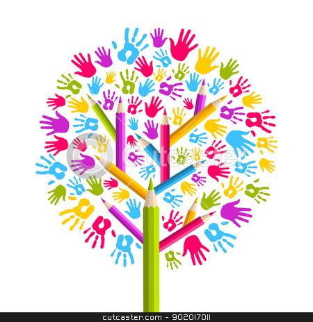 Diversity Education Tree Hands Stock Vector Clipart Isolated