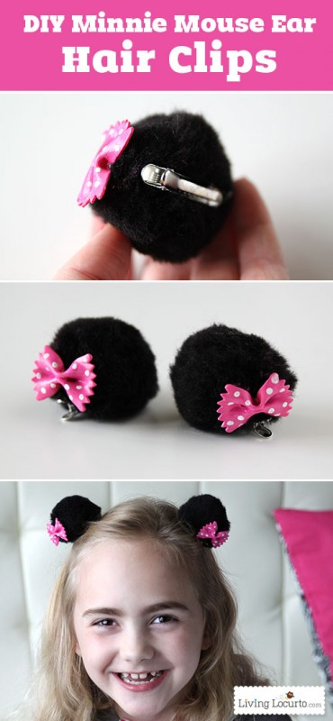 DIY Minnie Mouse Ear Hair Clips. Cute Disney Craft for Kids! LivingLocurto clipartall.com