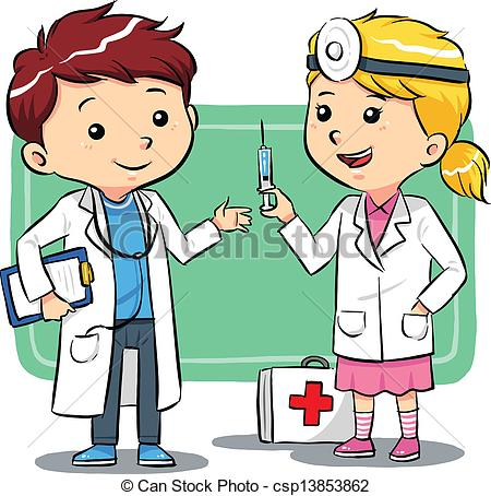 ... Doctor Kids - Kids playing to be a doctors. Vector EPS8 file Doctor Kids Clip Art ...