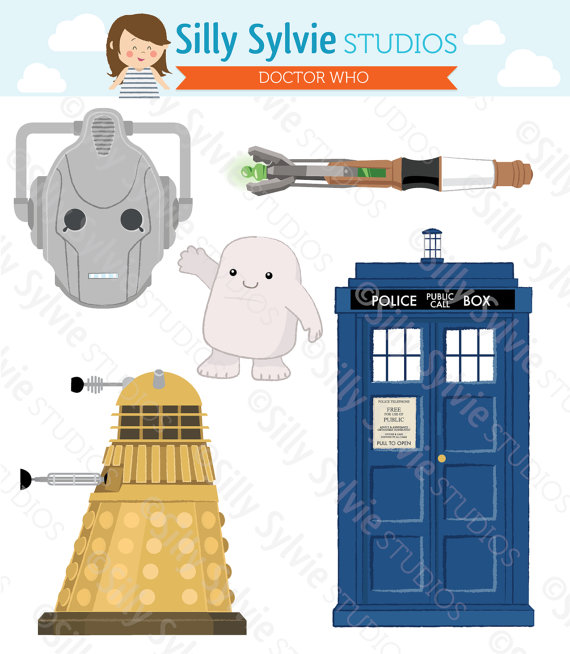 Doctor Who Clip Art Tardis Dalek Cyberman By Sillysylviestudios
