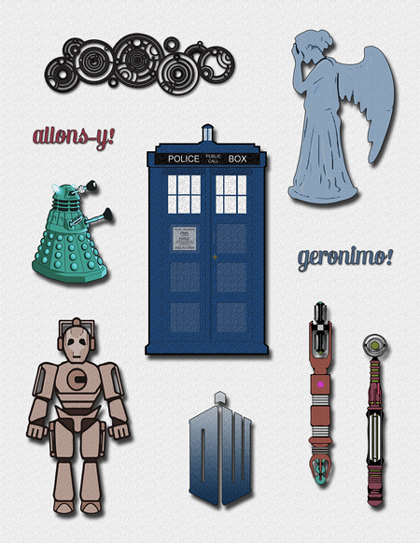 Doctor Who Clipart - A Doctor Who Clip Art set for decorations, cards, or Doctor Who birthday invitations, Dalek, Tardis Dr. Who Cybermen | Pinterest ...