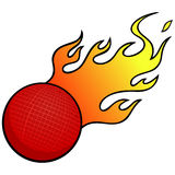 Dodgeball with Flames Royalty Free Stock Photo