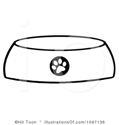 dog bone in bowl clipart - Dog Bowl Clipart