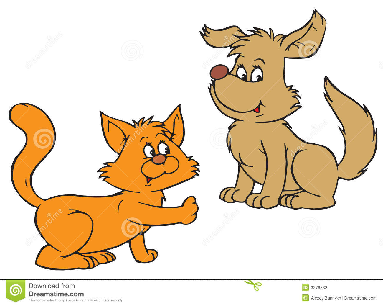 Dog And Cat Clipart Cat And Dog Vector Clip Art