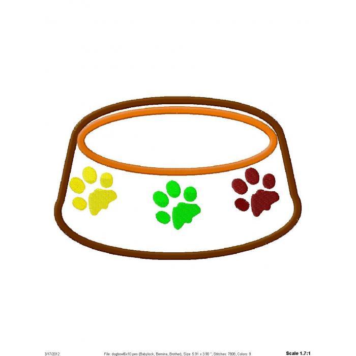 Dog Bowl Applique Design - Dog Bowl Clipart