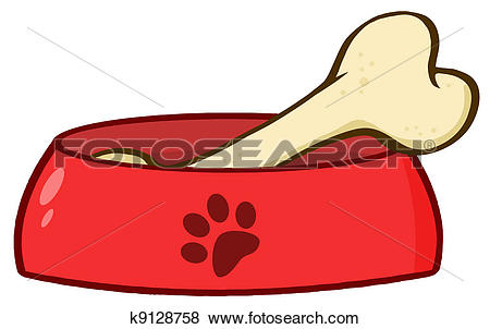 Dog Bowl With Big Bone - Dog Bowl Clipart
