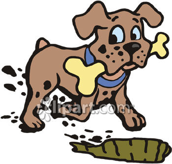 Dog Burying a Bone Clip Art ..