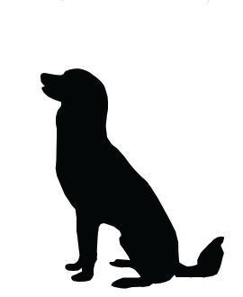Dog Clip Art, Large Dog Sitting with Head Up