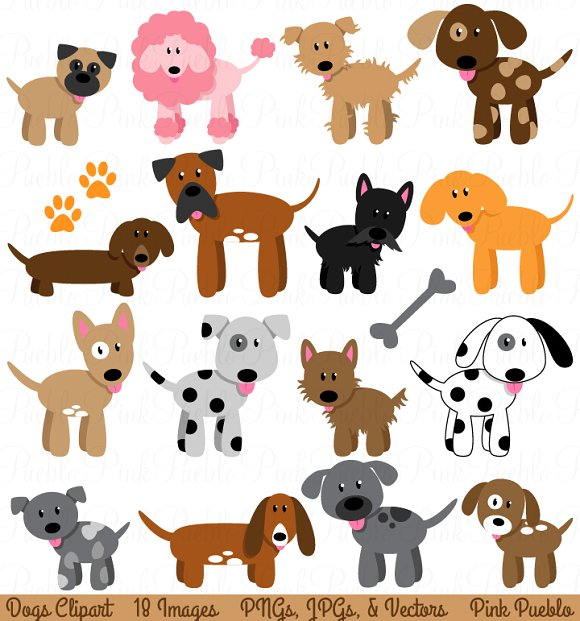 Dog and Puppy Clipart and Vectors - Illustrations