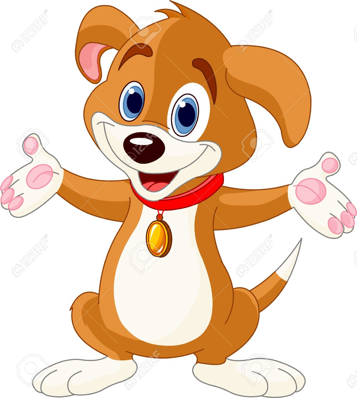 Illustration of cute puppy raising his h-Illustration of cute puppy raising his hands Illustration-6