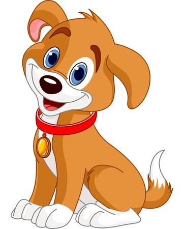 Illustration of cute puppy, wearing a re-Illustration of cute puppy, wearing a red collar with gold tag Illustration-0