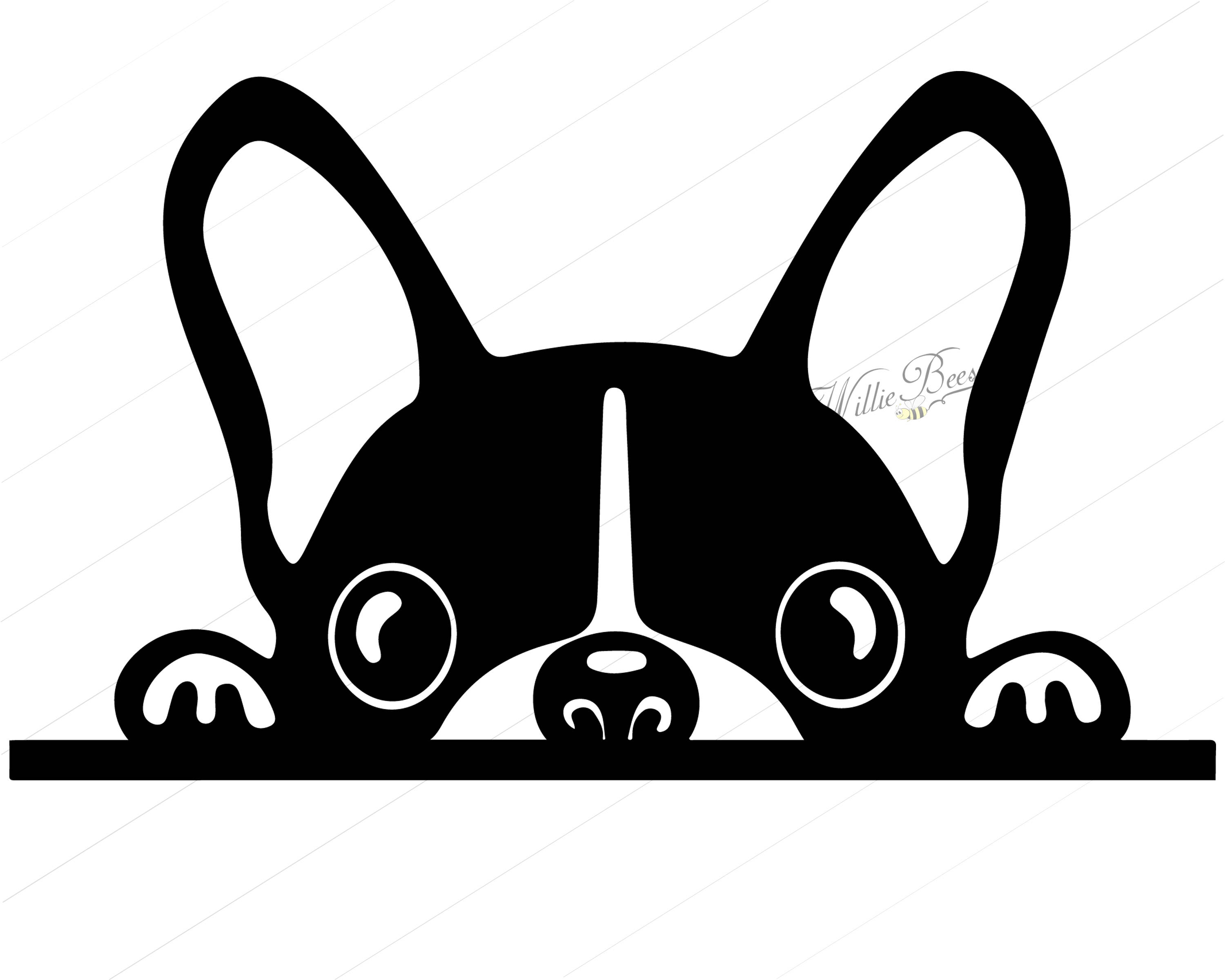 Peeking Dog SVG Silhouette Clipart, Canine, Family Pet, Dog, Peeking Dog,  Dog SVG, Dog Clipart, 12 inches, Instant Download