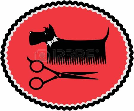 Dog Grooming: Red Sign In Frame With Gro-dog grooming: red sign in frame with grooming dog and scissors-9