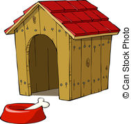 ... Dog House And Bowl With A Bone Vecto-... Dog house and bowl with a bone vector illustration-7