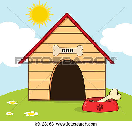 Dog House With Bowl On A Hill-Dog House With Bowl On A Hill-13