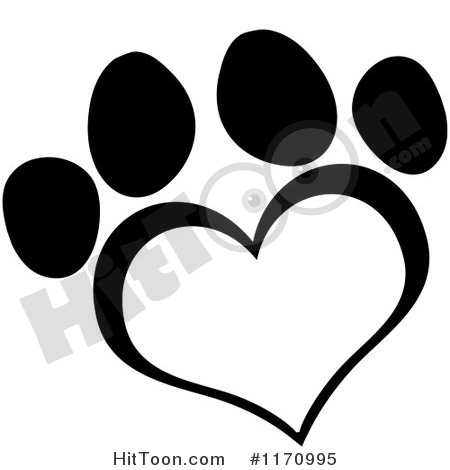 Dog paw outline clipart - ... Black and White Heart Shaped .