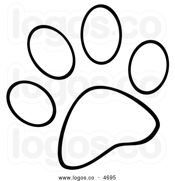 Dog Paw Print Clip Art Black .