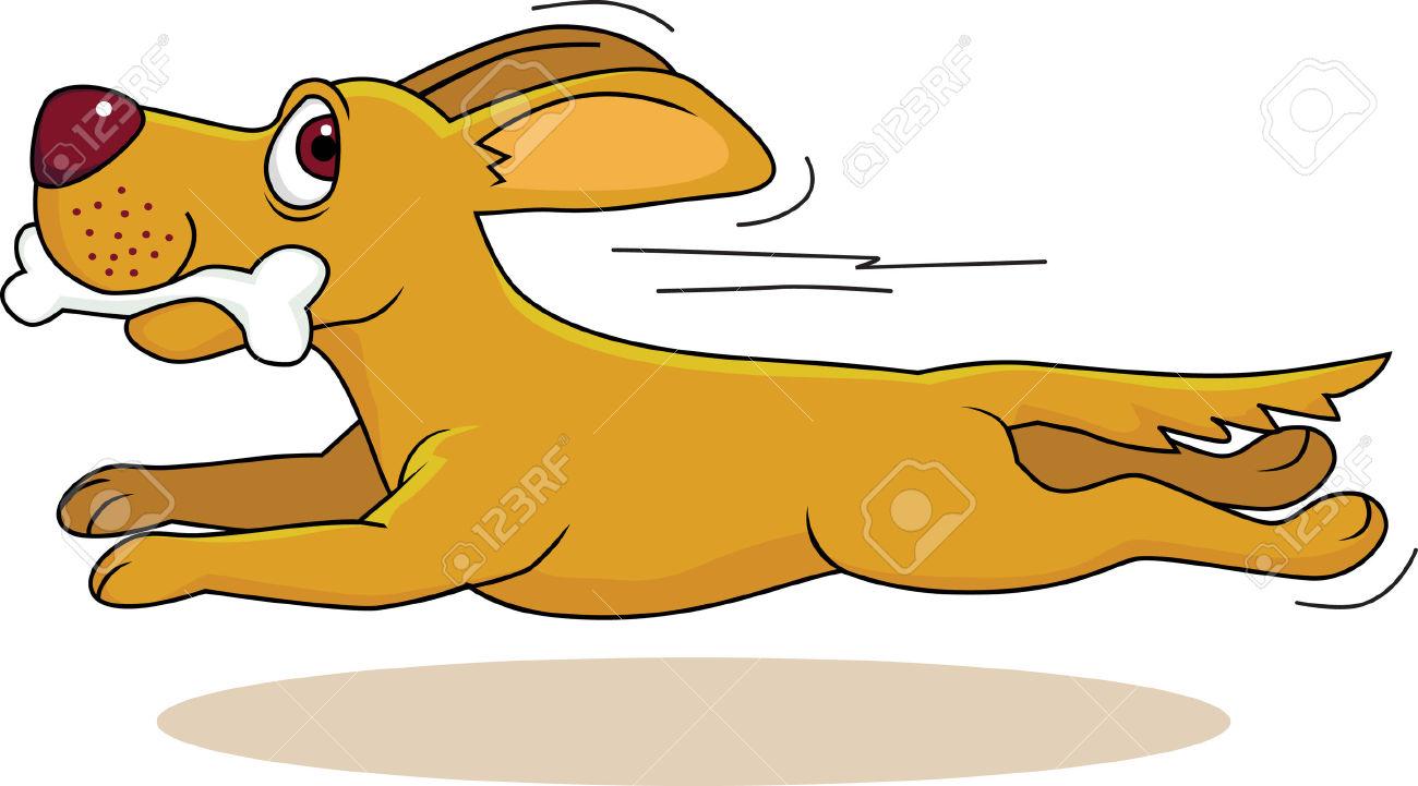 Dog Running With Bone Stock .-Dog running with bone Stock .-13