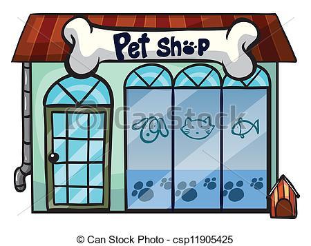 Dog Shelter Visit Clipartby lenm2/98; a pet shop - illustration of a pet  shop on a white... ...