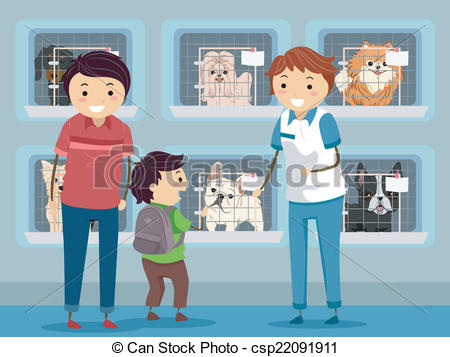 ... Dog Shelter Visit - Illustration of a Family Visiting a Dog.