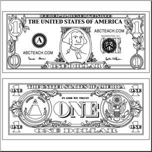 Clip Art: Dollar Bill Outline Bu0026W I abcteach clipartlook.com - preview 1