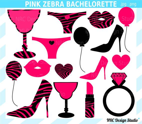 DOLLAR SALE - Engagement Party Clip Art - Pink Zebra Bachelorette Party Clip Art - Wedding Diamond Ring, Heart Balloon, Lingerie Clipart