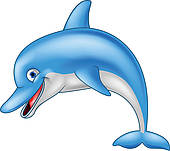 Cute dolphin cartoon waving; Funny dolphin cartoon