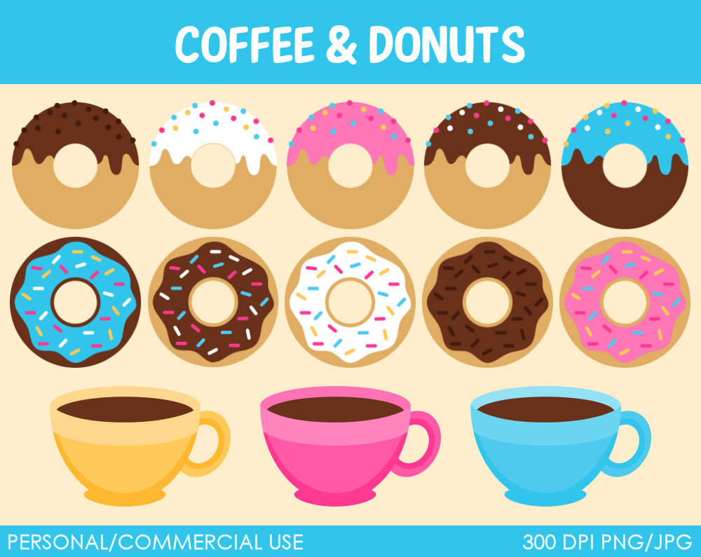 Donuts And Coffee Clipart Digital Clip Art By Mareetruelove
