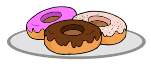 Donuts Clipart Image: Clipart Illustration of Three Doughnuts on a Plate