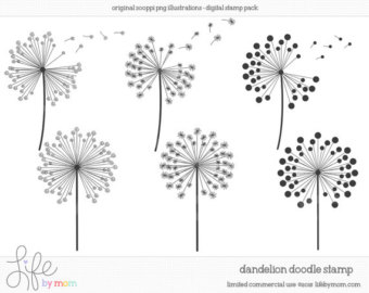 Doodle Dandelion Clipart, Illustrations,-Doodle Dandelion Clipart, Illustrations, Digital Stamp, Clip Art, Doodle, Digital Stamps, Doodles, Stamp - Limited Commercial Use OK-12