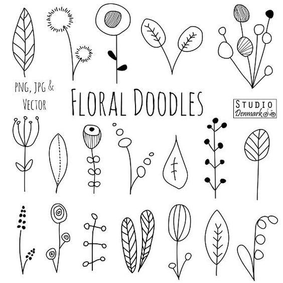 Doodle Flowers Clipart And Vectors - Han-Doodle Flowers Clipart and Vectors - Hand Drawn Flower and Leaf Doodles / Sketch - Nature / Foliage / Botanical Drawings - Commercial Use handmade design ...-8