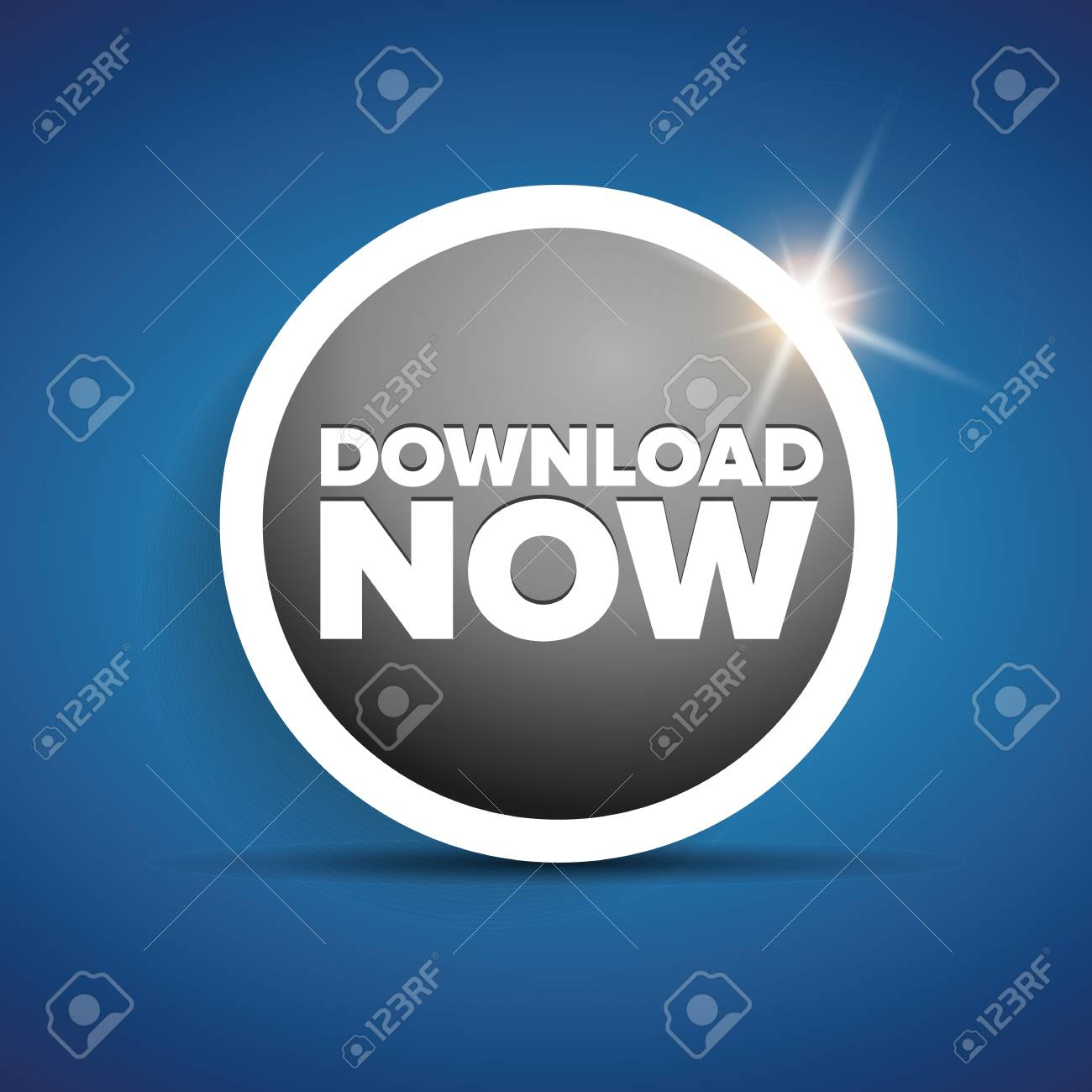 Download now button with shine Stock Vector - 37054996