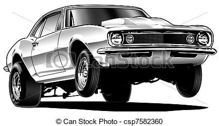 ... Drag Car Wheelie - Black Line and Ai-... Drag Car Wheelie - Black Line and Airbrush Illustration-10