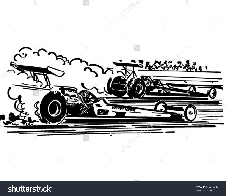 Drag Racing - Retro Clipart Illustration-Drag Racing - Retro Clipart Illustration-4