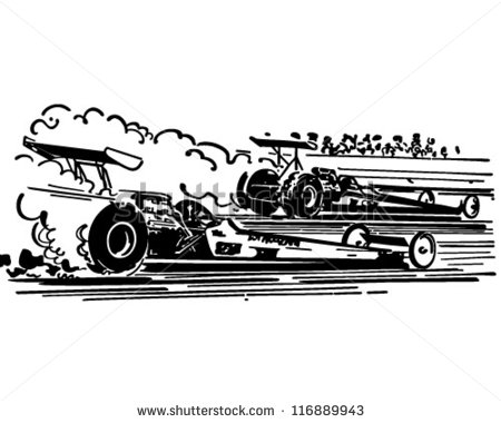 Drag Racing Retro Clipart Illustration S-Drag Racing Retro Clipart Illustration Stock Vector-8