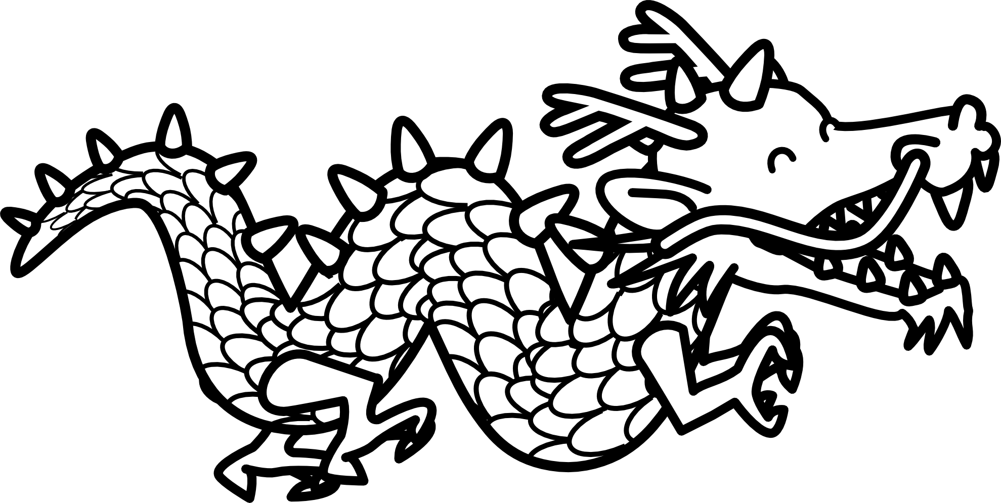 Dragon 2 Black White Line Art Coloring Book Colouring Coloring