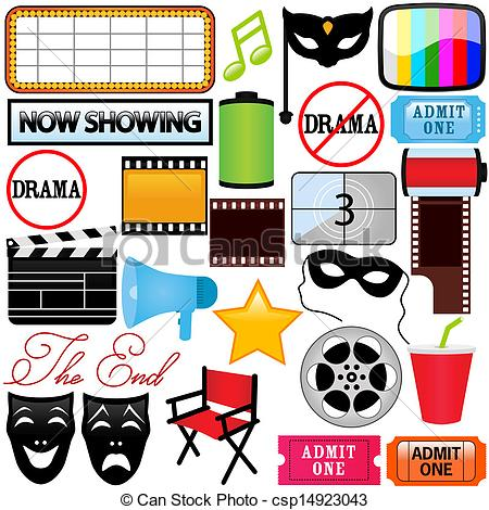 ... Drama, Entertainment, Film, movie - Theme of vector Icons :.