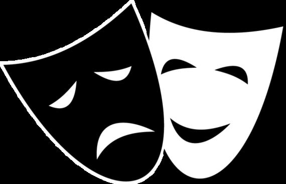... drama mask clip art ...