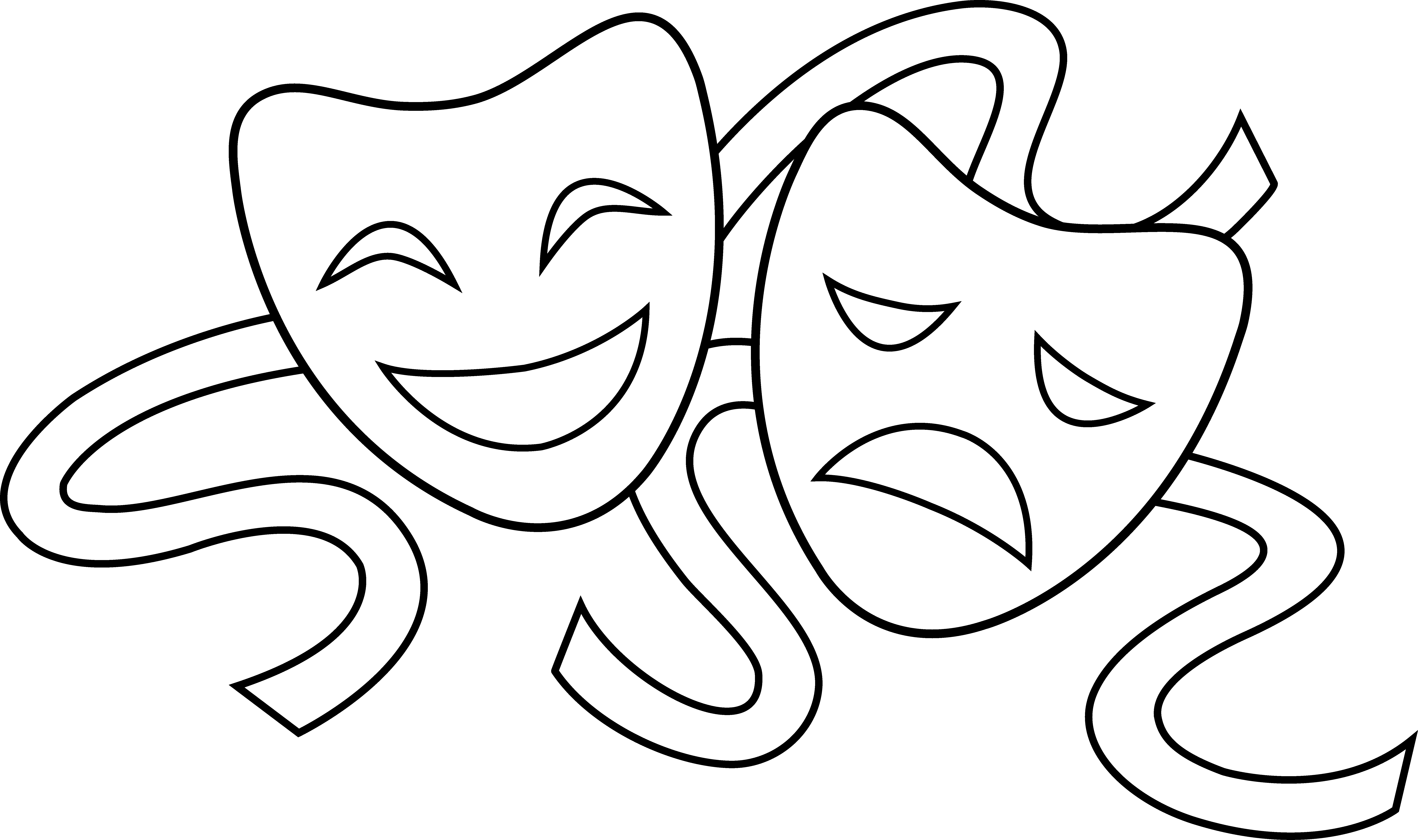 Drama masks clip art - ClipartFest