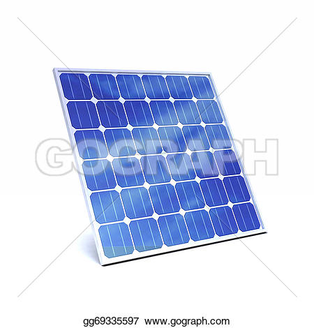 Drawing - 3d render of a solar panel. Clipart Drawing gg69335597