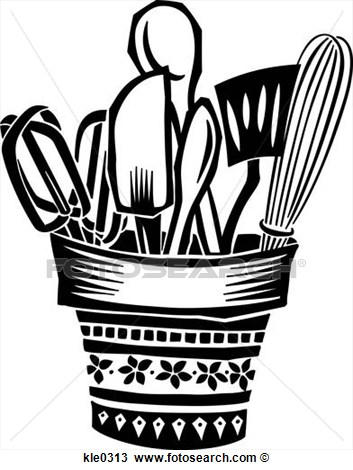 Drawing A Pot Full Of Cooking Utensils Fotosearch Search Clipart