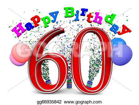 Drawing - Happy 60th birthday. Clipart Drawing gg66935842