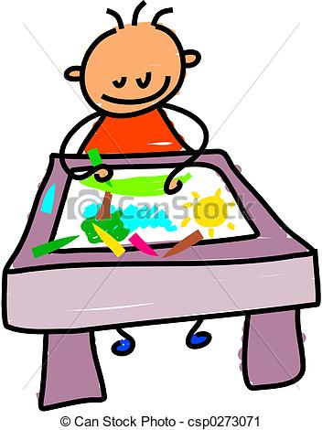 ... drawing kid - little boy sitting at a desk drawing a picture... drawing kid Clipartby ...