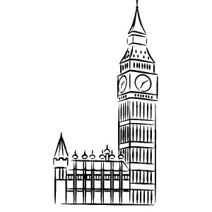 Drawing Of Big Ben Clock . - Big Ben Clip Art