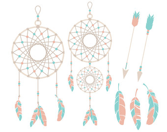 Dreamcatchers, Tribal Clipart, Dreamcatcher graphics, Dream Catcher Scrapbooking, Tribe - Commercial or Personal Use - INSTANT DOWNLOAD