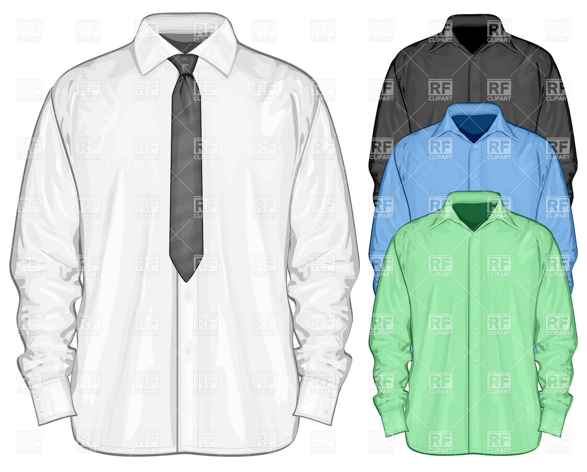 White dress shirt with necktie Royalty Free Vector Clip Art