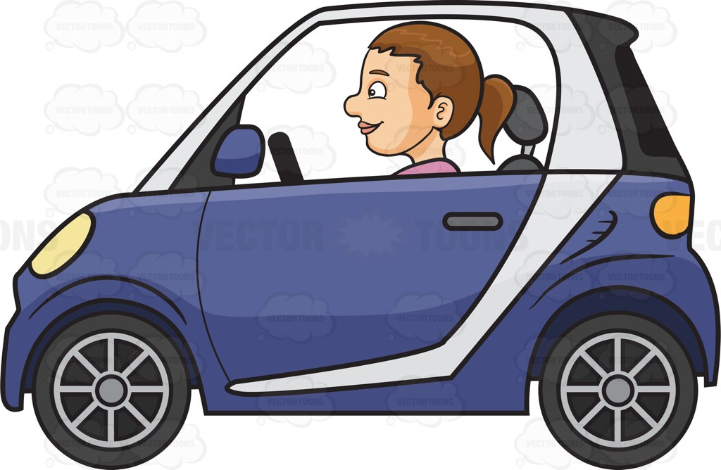 A Woman Driving A Smart Car Cartoon Clipart - Vector Toons