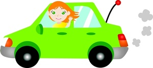 Driving Clipart Image: Young Woman or Teen Girl Driving a Car