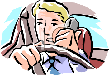 Man Talking on the Phone While Driving - Royalty Free Clip Art Illustration