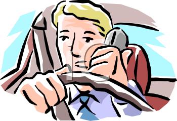 Man Talking On The Phone While Driving --Man Talking on the Phone While Driving - Royalty Free Clip Art Illustration-19